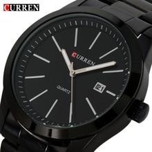 Moda negro curren reloj de cuarzo de acero lleno ocasional hombres de negocios negro reloj relojes impermeables hombre relogio 2017