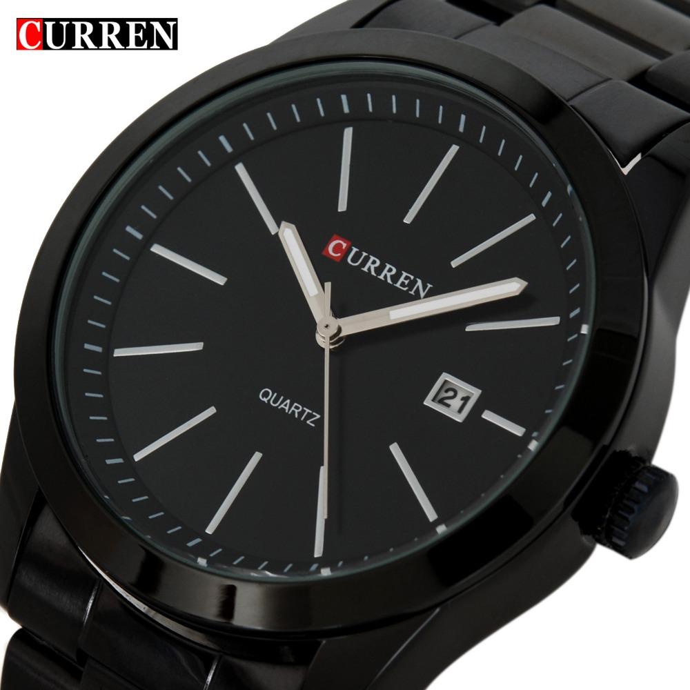 Prix pour Mode Noir Curren casual complet acier quartz Montre hommes Noir D'affaires Montre-Bracelet étanche Relojes Hombre Relogio 2017
