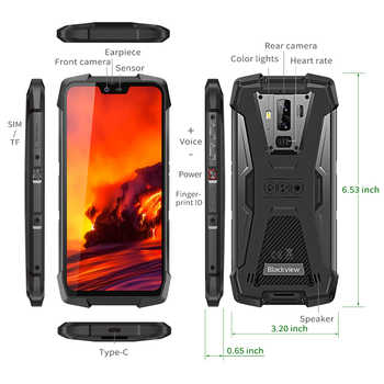 """Blackview BV9700 Pro IP68/IP69K Rugged Mobile Phone Helio P70 Octa core 6GB+128GB 5.84\"""" IPS 16MP+8MP 4G Face ID Smartphone"""