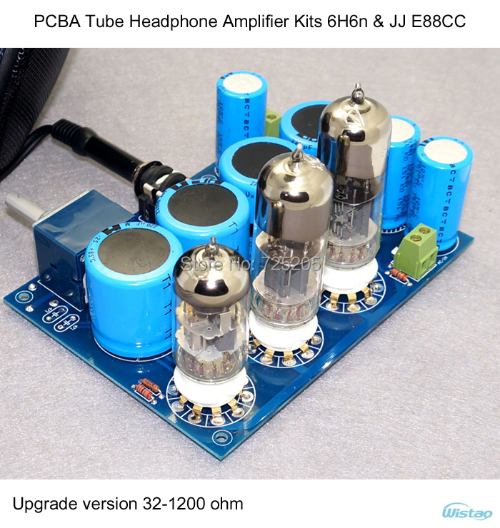 PCBA Tube Headphone Amplifier Kits HIFI WCF Solution with 6H6n X2 JJ E88CCx1 Upgrade Version 32~1200 Ohms Stereo Audio DIY appj pa1502a tube headphone amplifier