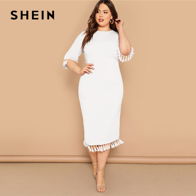 SHEIN Women Plus Size Scarf Print Buttoned Cuff Black Long Dress 2019 Ladies Spring Half Sleeve Solid Casual Dresses 4