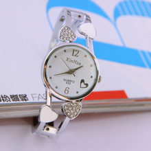 2016 New Fashion Brand watches Women Stainless Steel Bracelet Bangle Flower LOver Heart Shape Wristwatches Female Clock Relogios