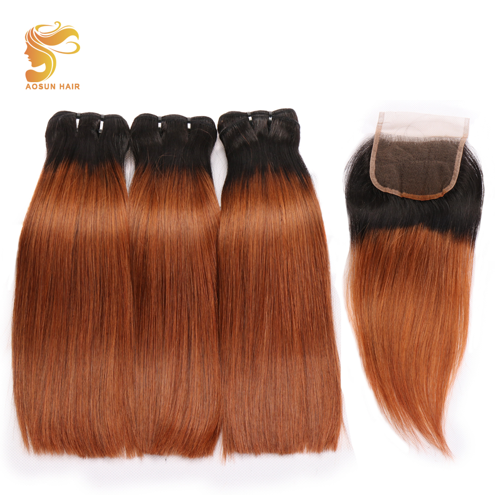 AOSUN Hair Brazilian Fumi Bone Straight With Closure 3PCS Drawn Fumi Two Tone Hair With Closure