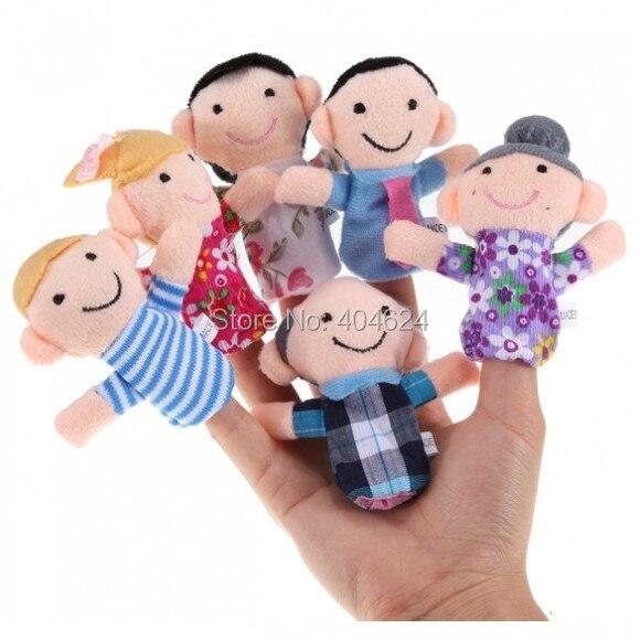 2015 6 шт./лот счастливая семья палец куклы милый кукла ткани детские развивающие малыш детей куклы-марионетки игрушка в подарок бесплатная доставка