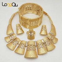 Weekday Sales Wholesale 2016 New Jewelry Sets Necklace Earrings Dubai African Jewelry Sets Fashion 18K Yellow