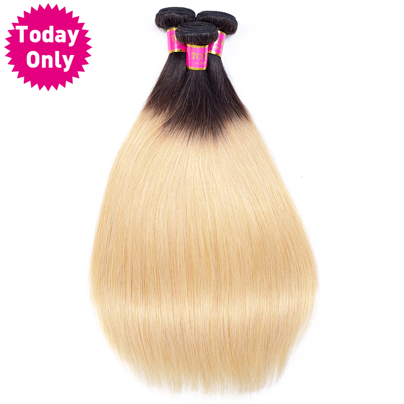 TODAY ONLY Blonde Hair 3 Bundles Deals Brazilian Straight Hair Bundles Ombre Brazilian Hair Weave Bundles Human Hair Extensions
