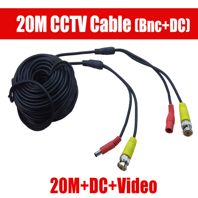 New Arrival 20m BNC Video Power Siamese Cable for Surveillance DVR Kit CCTV Camera Accessories Length 20m 65ft Power video cable sunchan 165ft 50m cctv bnc dc plug video power siamese cable for surveillance dvr kit for security camera