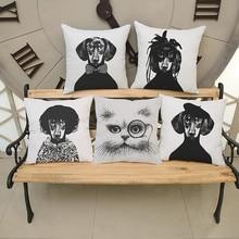 Vintage negro y blanco perro gato Animal cojín almohada fresco hombre decoración hogar habitación sofá silla Lino cojines