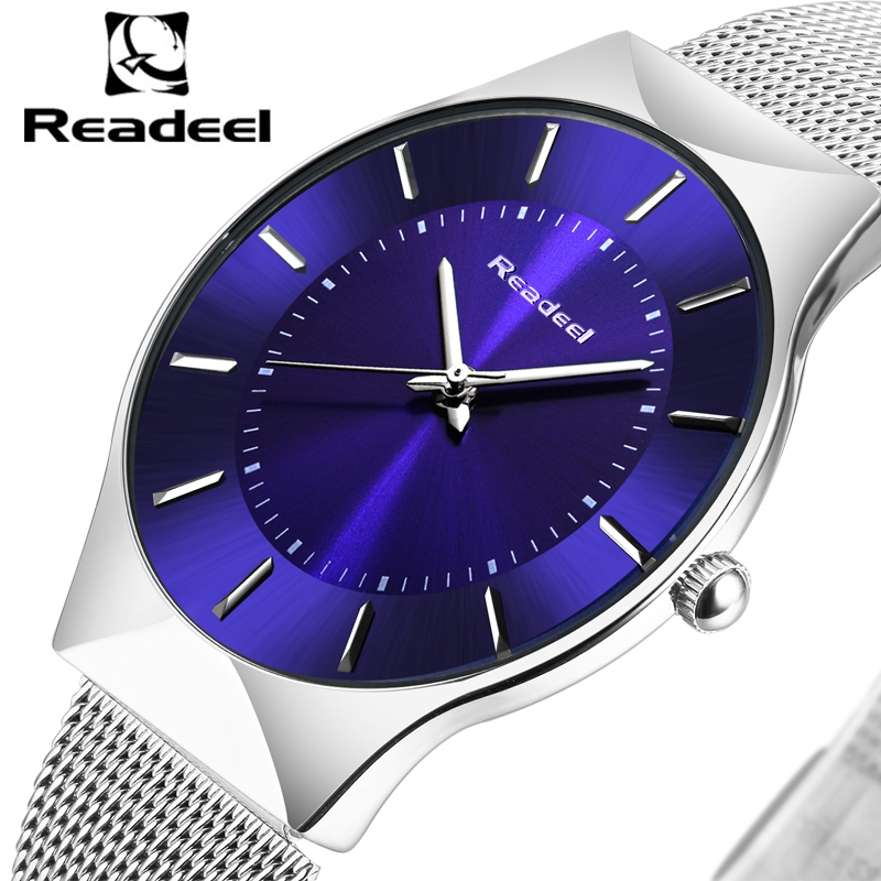 Readeel Men Watches Top Brand Luxury Blue Dial Ultra Thin Date Clock Male Steel Strap Casual Quartz Watch Men Sports Wrist Watch 2017 luxury brand binger date genuine steel strap waterproof casual quartz watches men sports wrist watch male luminous clock