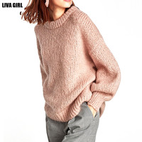 Liva Girl Autumn Winter Loose Sweaters 2017 Fashion Women Lantern Sleeve Knitted Sweater Jumpers New Pink