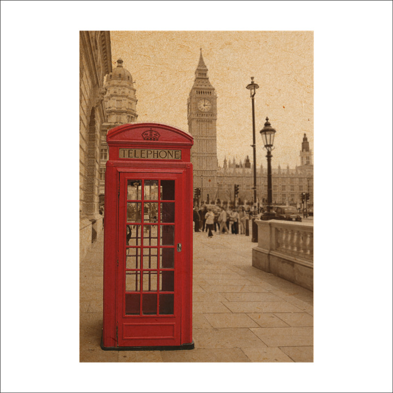 Vintage Big Ben Phone Booth Retro Paper Posters Wall Stickers Home Decor Wall Decal London