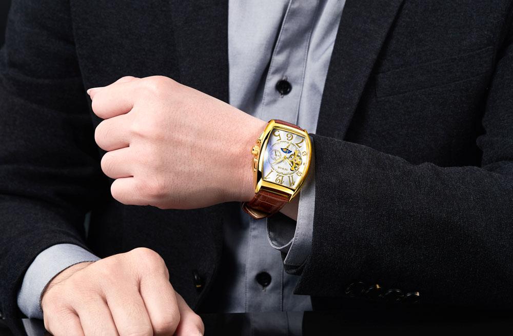 HTB1gyzuhNYaK1RjSZFnq6y80pXay SEWOR New Black Gold Tonneau Tourbillon Automatic Mechanical Watch Men Genuine Leather Strap Men Clock Male Men Wristwatches