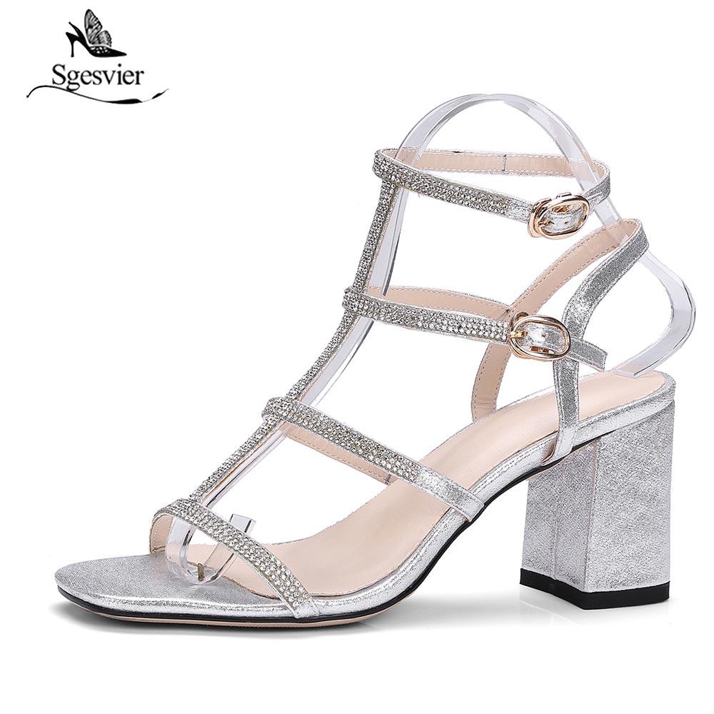 07509d5b004b Sgesvier Women Thick High Heel Stilettos 2018 New Summer Peep Toe Sandals  Black Silver Bridesmaid Bridal Wedding Shoes B302