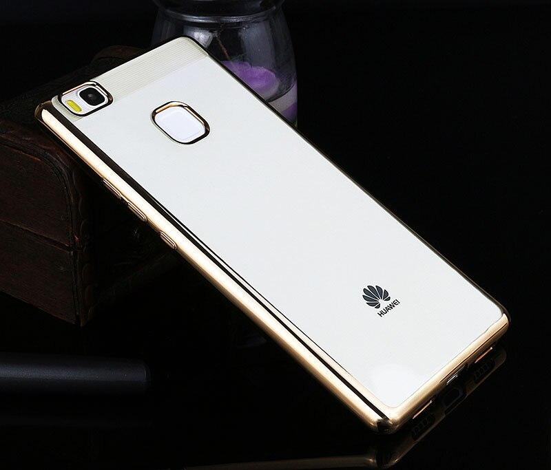 Poszycie telefon skrzynka dla huawei p9 lite pokrywa silikonowa ultra cienkie miękkie przezroczysty tpu tylna pokrywa dla huawei p9 lite luksusowe złota 9