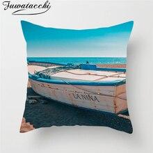 Fuwatacchi Sea Creature Undersea Scenery Cushion Cover Turtle Lakes Boats Trees Throw Pillow Nature Pillowcases