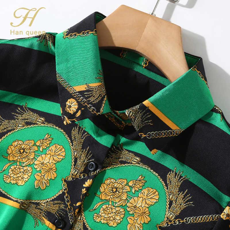 H Han Queen 2019 ใหม่มาถึงแฟชั่นผู้หญิงเสื้อแขนยาวพิมพ์ผู้หญิงเสื้อ top slim fit office เลดี้ Blusas