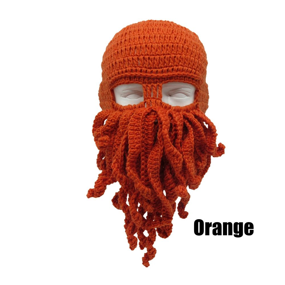 6b20ab25b2db Unisex Knitted Wig Hats Funny Creative Octopus Hat Ski Squid Hat Mask Beard  Octopus Squid Cap Cosplay Beanie Wind Wool Knit Cap