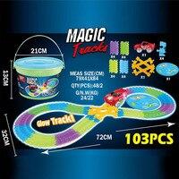 DIY Faixas Slot Twister Trax 360 Loop Glow In The Sistema de Montagem Flexível Faixa Luminosa escuro Com DIODO EMISSOR de Luz-Up de Corrida veículo