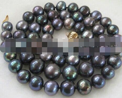 Бесплатная доставка Лидер продаж >>>@@ as4907 11 12 мм черный жемчужное ожерелье 32 inch