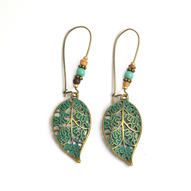 New LNRRABC Green Vintage Hollowed Out Leaves Beads Earrings Stainless Steel Jewelry Simple Style Hoop Earrings Accessories