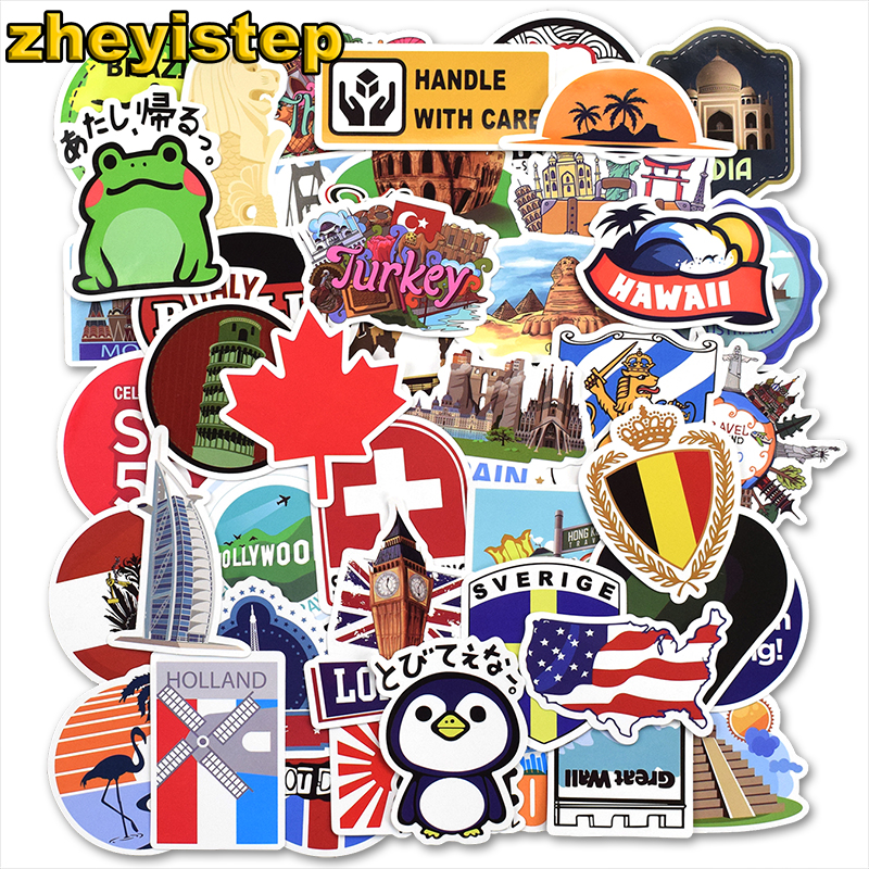 50 Pcs Mixed Travel Stickers for Guitar Laptop Luggage Skateboard Motorcycle Car Styling Bicycle Graffiti Waterproof Sticker цена