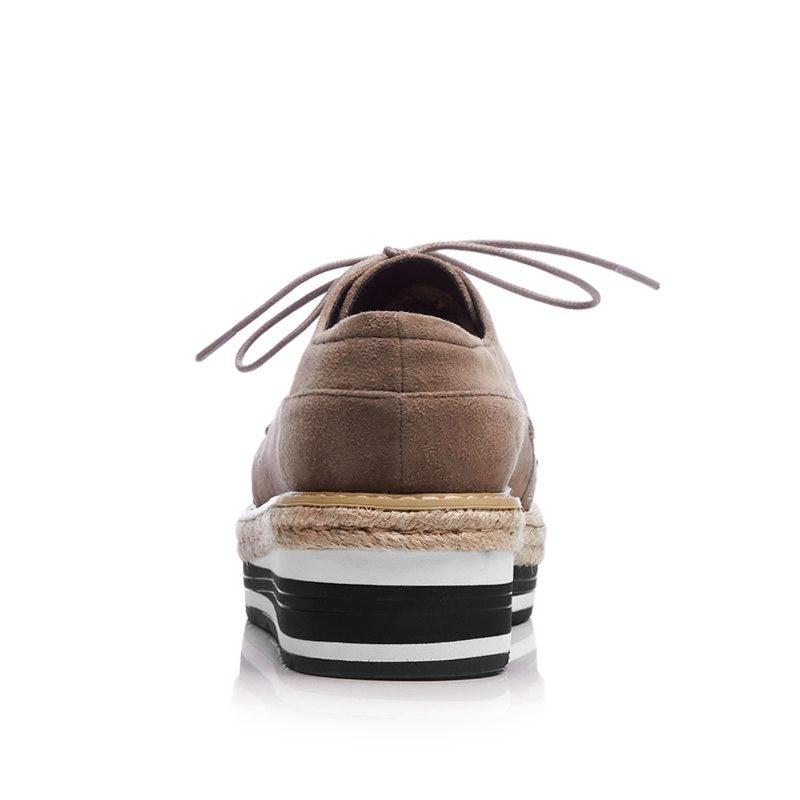 8f5e493cf6304b Kid D'école Chaussures café Talons Hauts Noir Des Femmes Lacent Pot Mode  Oxford De Marque forme Européen Coins Style Krazing Suede ...