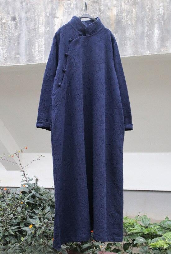 dark Lin Robe Occasionnel black Longue Col Style Montant vert Couleurs Bleu Robes Coton pourpre marine Pink Red Red hot Longueur Lâche Femmes Outwear Boutons Pleine 8 De Chinois Vintage wqvC6w1E