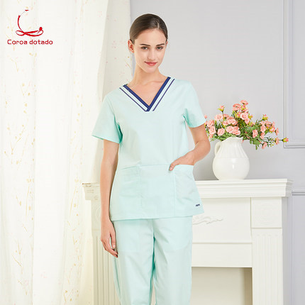 Short sleeve doctor's clothes women's clothes women's beauty salon work clothes collar edge matching color hand washing clothes