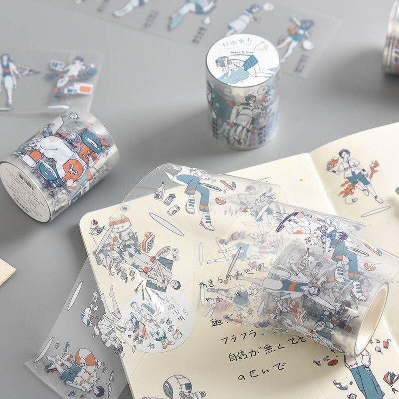 Mohamm 50mm X 3m PET Transparent Washi Tape Masking Scrapbooking Journal Paper Craft Supplies Stationery