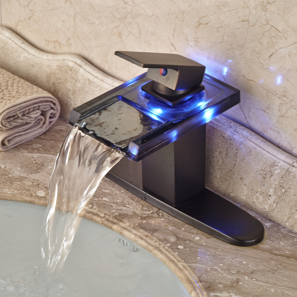 Led waterfall bathroom sink faucet - Wholesale And Retail Led Color Change Waterfall Bathroom Basin Faucet Oil Rubbed Bronze Sink Mixer Tap