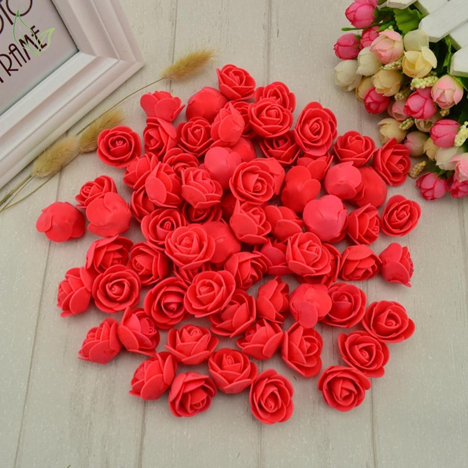 100pcs Pe Foam Fake Flower Roses Head Artificial Flowers Cheap