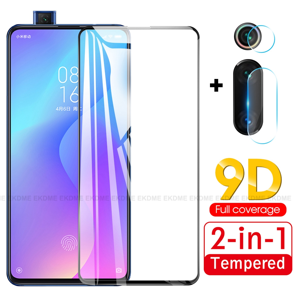 2 In 1 9D Tempered Glass For Xiaomi Redmi K20 Pro K20 Protective Glass For Xiaomi Mi 9T Pro Mi9T Front Glass + Camera Lens Glass