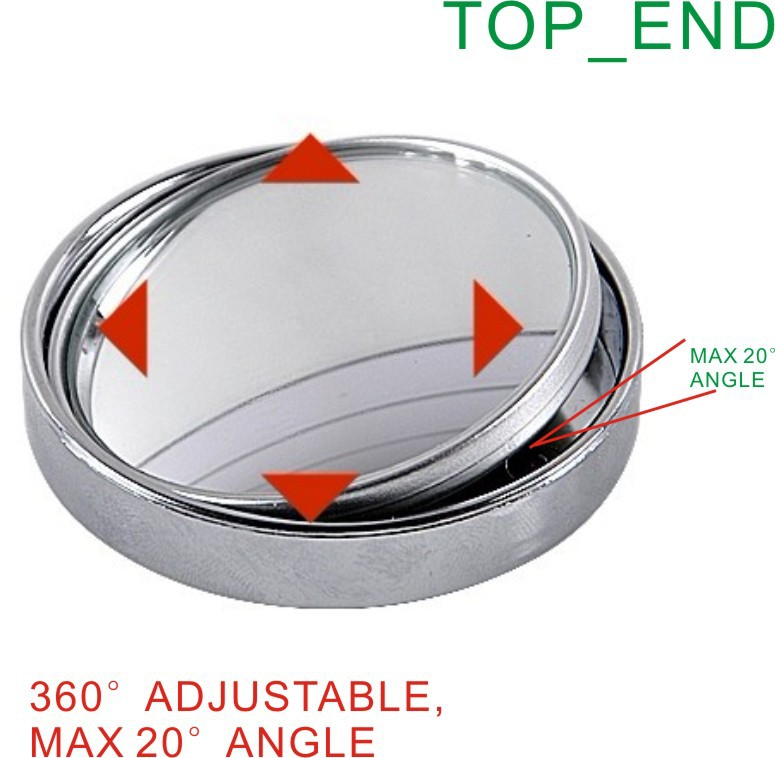 """Hot & Japan Standard Quality,Free Shipping 2.5"""" Large Size Convex & Adjustable Car Blind Spot Mirror,SILVER Frame w/ 3M Tape"""