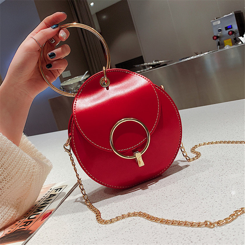 Metal Ring Mini Tote Bag 2019 Summer Fashion New Quality PU Leather Women's Designer Handbag Lock Chain Shoulder Messenger Bags