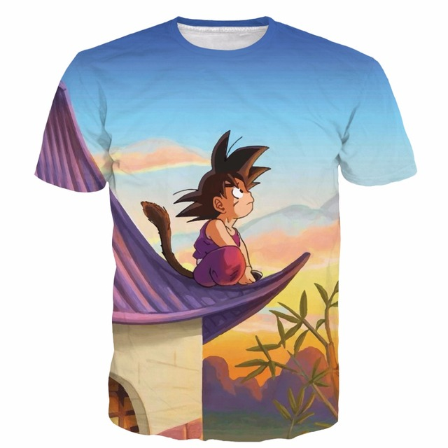 New Arrive Kid Goku t shirts Dragon Ball Z tee shirts Men Women Hipster 3D t shirt Cute Goku Sunset Scenery tshirts tops