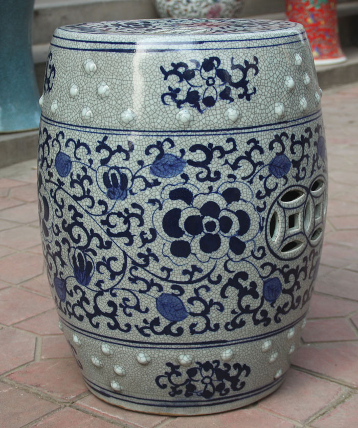 Blue Ceramic Garden Stool Vintage Used Garden Stools Chairish Safavieh Paradise Zen Light