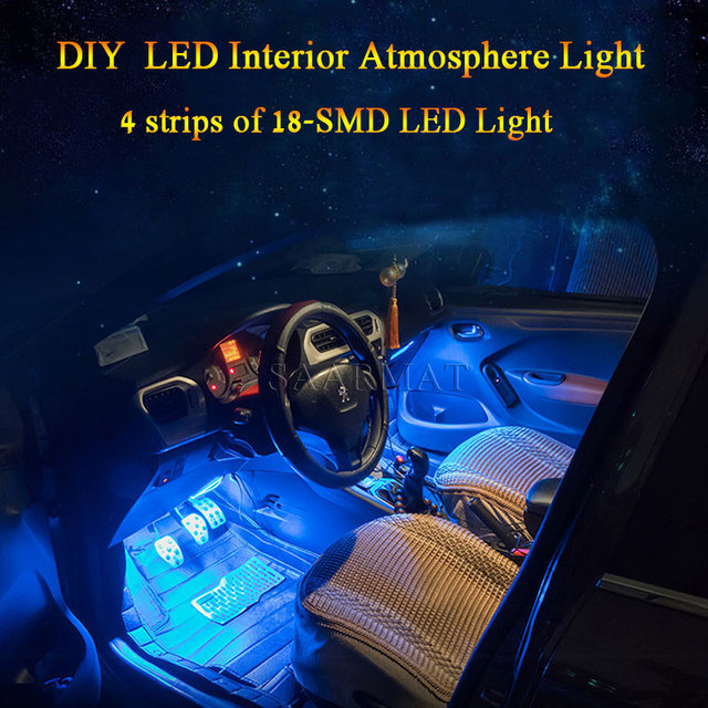 4Pcs RGB 18SMD Wireless Car Interior LED Strip Atmosphere Light Decoration  Lamp + Remote Controller