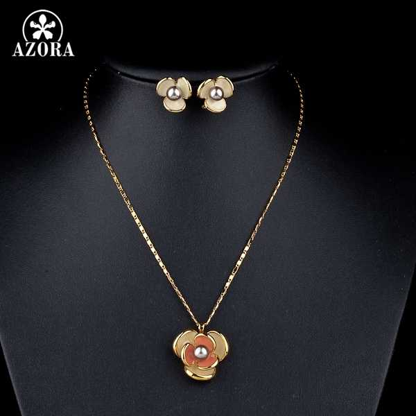 AZORA Classic Gold Color Flower Design Clip Earring and Pendant Necklace Set TG0023