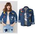 Европейский стиль женщины чистый хлопок джинсовые куртки локомотив все match сексуальный вышивка символов свободные куртки друга H68
