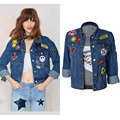 European style women pure cotton denim jacket locomotive all match fashion sexy embroidery character loose boyfriend jackets H68