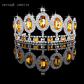 Luxury Silver/gold Large Diamante Wedding Pageant Tiara Headband yellow Crystal Bridal Crown Hair Jewelry Headpiece decoration