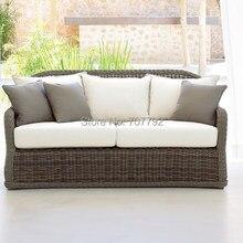 Лидер продаж большая плетеная уличная мебель на двоих диван