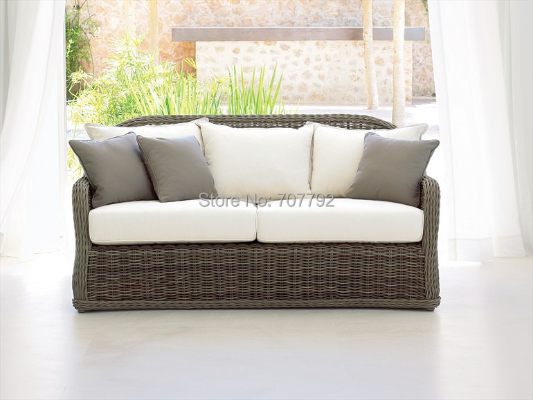 2017 Top Sale Large Wicker Outdoor Loveseat Furniture Sofa(China (Mainland))