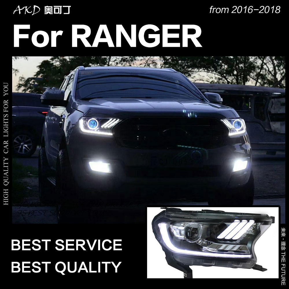 AKD Car Styling for Ford Ranger Headlight 2016 2017 Everest LED Head Lamp H7 D2H Hid