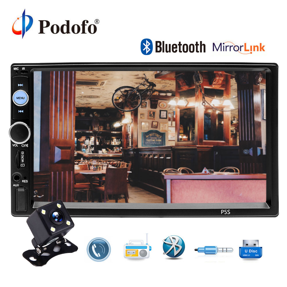 Podofo 2 din Автомагнитолы 7 HD MP5 плеер Зеркало Ссылка цифровой Дисплей Bluetooth USB Multimedia 2din авторадио автомобилей backup Monitor