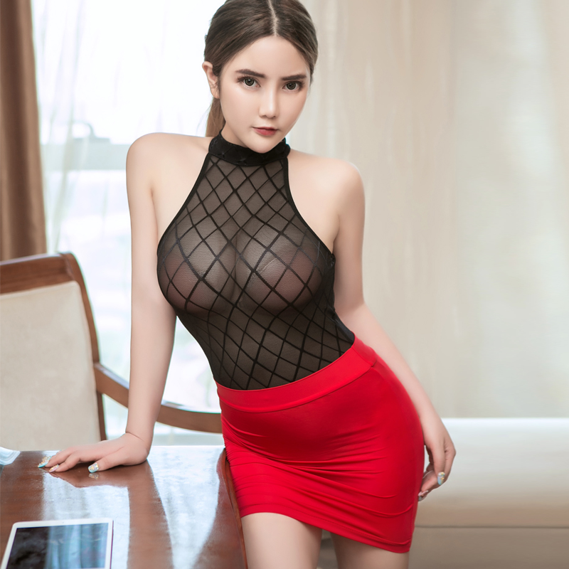 Women Singer Secretary Nightclub Bar Dance Sexy See Through Uniform Suit Bodysuit Thin Mini Hip Step Bodycon Pencil Skirt