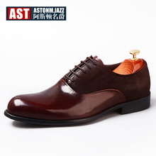 Recommend !! Men Round Toe Retro Oxfords Genuine Leather Formal Dress Shoes Lace Up Man Wedding