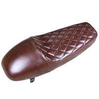 1PC Brown PU Leather Motorcycle Custom Cafe Racer Seat Saddle Vintage Hump Seat Cushion Diamond Embossing Styling Waterproof