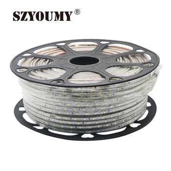 SZYOUMY 100m 220V Led 2835 SMD Led Strip Rope Light 60leds/m Waterproof IP67 LED Strip High Voltage Flexible Led Strip With Plug - DISCOUNT ITEM  7 OFF Lights & Lighting