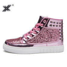 Pink Platform Canvas Sneakers Woman Fashion High Top Pu Vulcanize Shoes Sequin Casual Women Chaussures Femme Calzado Mujer
